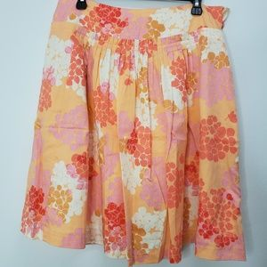 Anthropologie Odille Floral Pleated Flare Skirt 10
